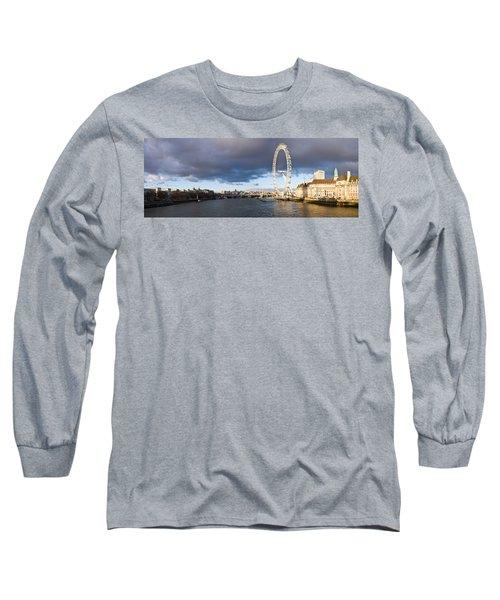 London Eye At South Bank, Thames River Long Sleeve T-Shirt by Panoramic Images