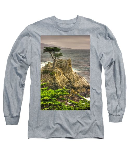 Lone Cypress On The Monterey Peninsula - No. 1 Looking Across Carmel Bay Spring Mid-afternoon Long Sleeve T-Shirt by Michael Mazaika