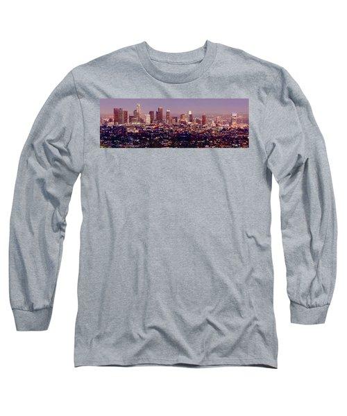 Los Angeles Skyline At Dusk Long Sleeve T-Shirt by Jon Holiday