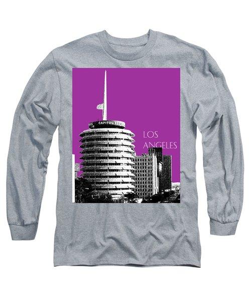 Los Angeles Skyline Capitol Records - Plum Long Sleeve T-Shirt