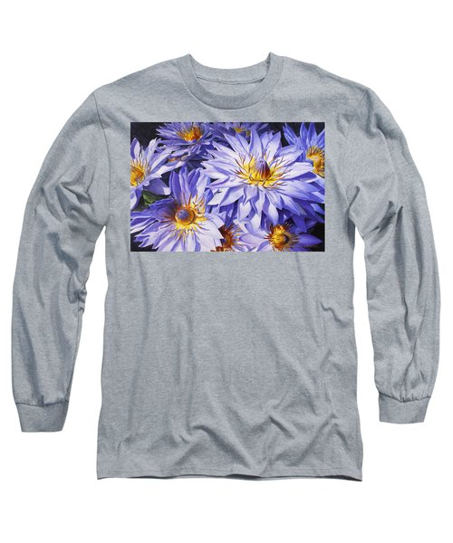 Lotus Light - Hawaiian Tropical Floral Long Sleeve T-Shirt by Karen Whitworth