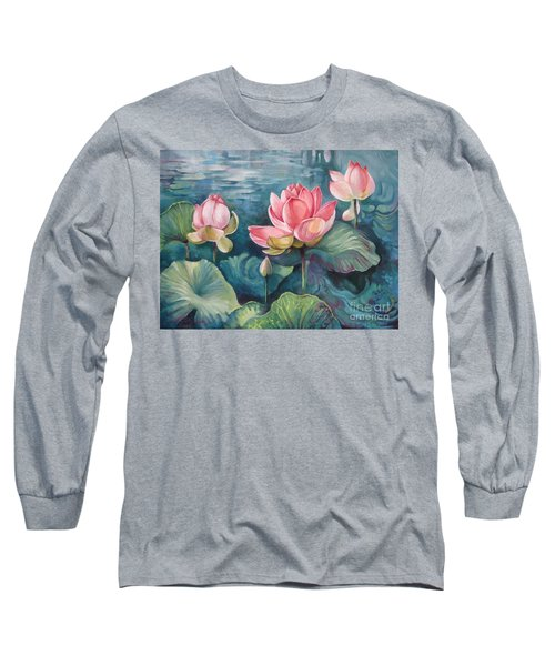 Long Sleeve T-Shirt featuring the painting Lotus Pond by Elena Oleniuc