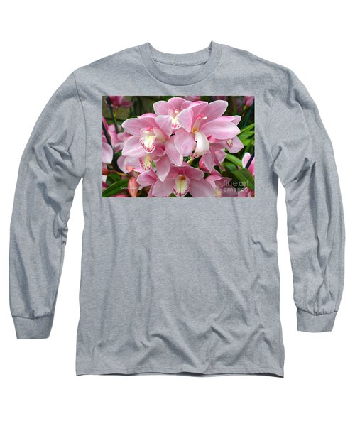 Long Sleeve T-Shirt featuring the photograph Cymbidium Pink Orchids by Jeannie Rhode