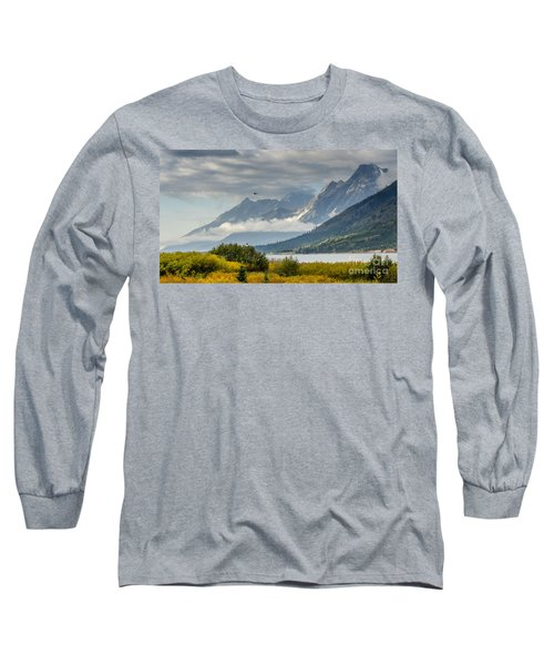 Low Clouds On The Teton Mountains Long Sleeve T-Shirt by Debra Martz