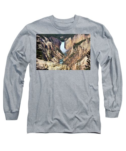 Long Sleeve T-Shirt featuring the photograph Lower Falls Yellowstone by Teresa Zieba