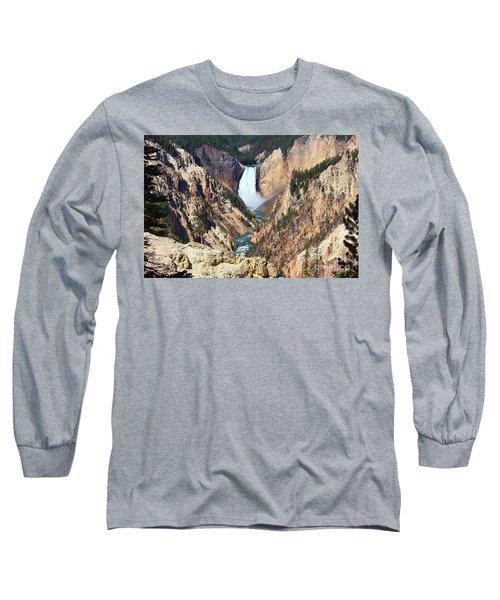 Lower Falls Yellowstone Long Sleeve T-Shirt by Teresa Zieba