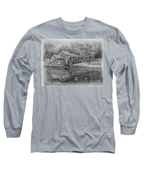 Mabry Mill Pencil Drawing Long Sleeve T-Shirt
