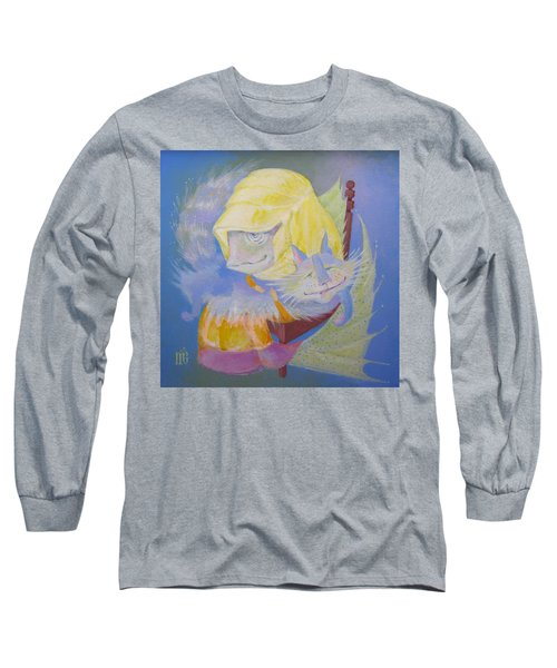 Long Sleeve T-Shirt featuring the painting Madonna With A Cat by Marina Gnetetsky