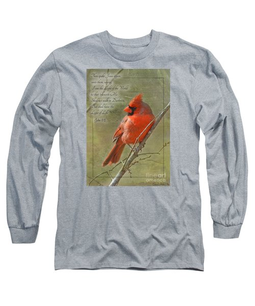 Male Cardinal On Twigs With Bible Verse Long Sleeve T-Shirt by Debbie Portwood