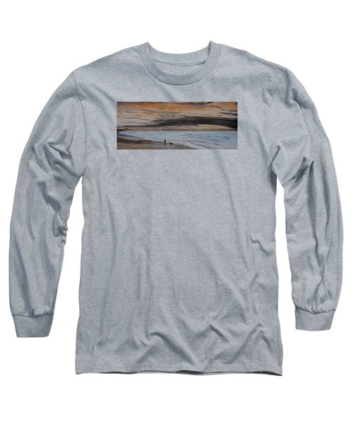 Long Sleeve T-Shirt featuring the painting Man And Dog On The Beach by Ian Donley