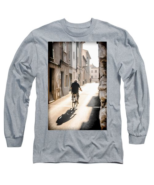 Man Riding Bicycle In Street In Puerto Pollenca Long Sleeve T-Shirt