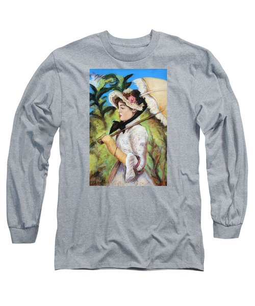 Long Sleeve T-Shirt featuring the pastel Manet Woman With Parasol by Melinda Saminski