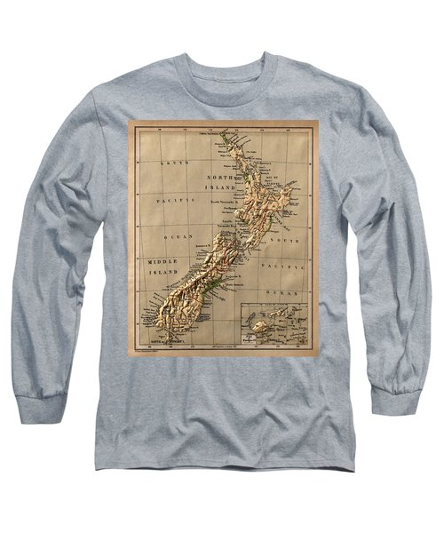 Map Of New Zealand 1880 Long Sleeve T-Shirt