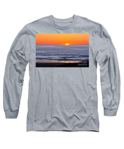 Long Sleeve T-Shirt featuring the photograph Marbled Godwits Reflecting A Sunset by Susan Wiedmann