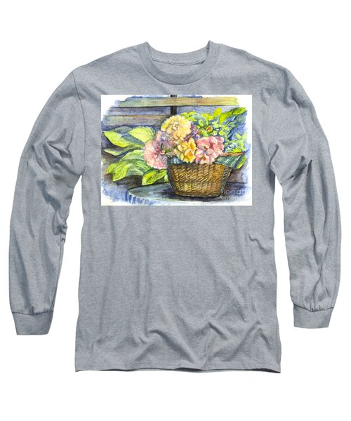 Marias Basket Of Peonies Long Sleeve T-Shirt by Carol Wisniewski