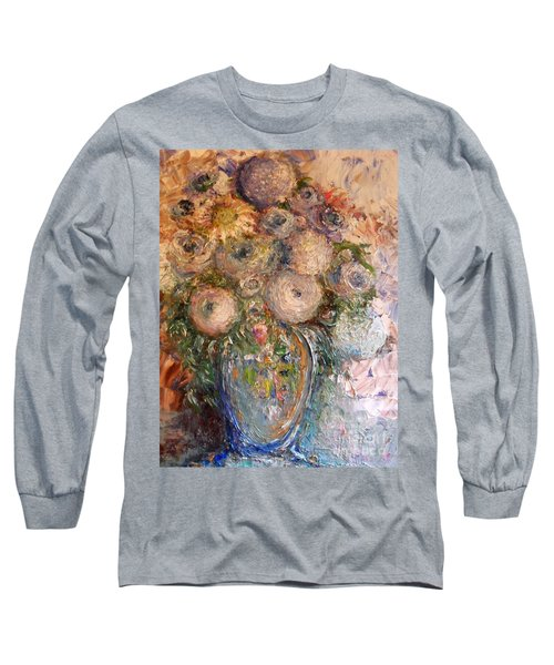 Marshmallow Flowers Long Sleeve T-Shirt by Laurie L