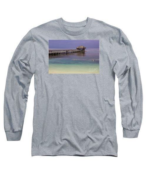 Maya Key Pier At Roatan Long Sleeve T-Shirt by Suzanne Luft