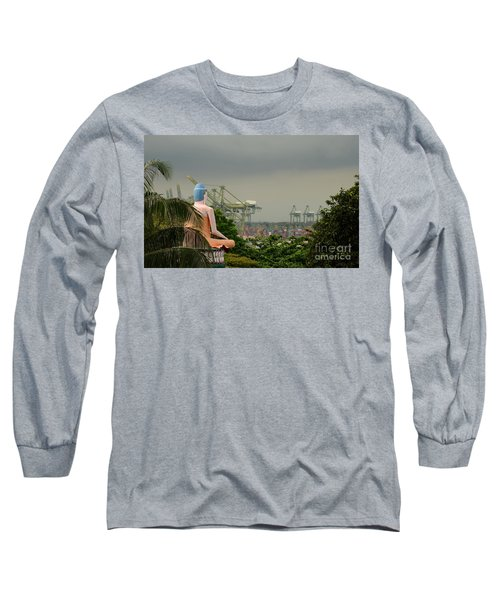 Long Sleeve T-Shirt featuring the photograph Meditating Buddha Views Container Seaport Singapore by Imran Ahmed