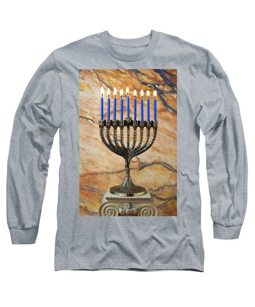 Menorah With Blue Candles Long Sleeve T-Shirt