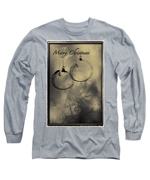 Long Sleeve T-Shirt featuring the mixed media Merry Christmas Card by Peter v Quenter