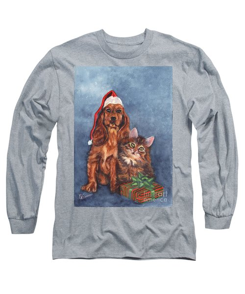 Long Sleeve T-Shirt featuring the painting Merry Christmas by Carol Wisniewski
