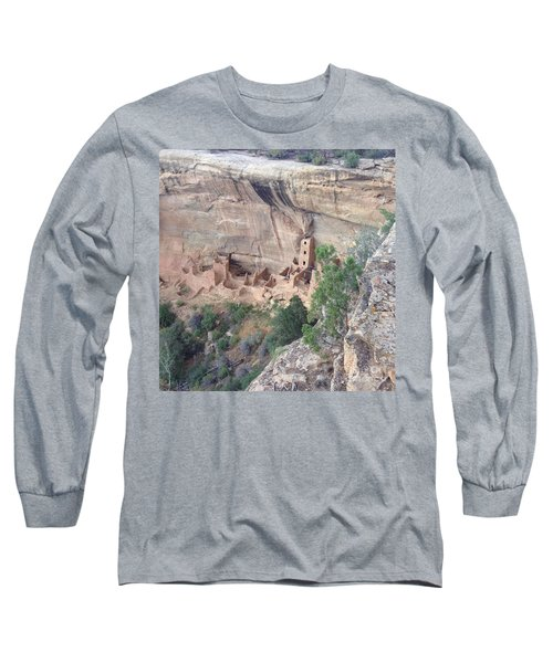Long Sleeve T-Shirt featuring the photograph Mesa Verde Colorado Cliff Dwellings 1 by Richard W Linford