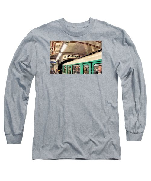 Long Sleeve T-Shirt featuring the photograph Metro To Montmartre. Paris   by Jennie Breeze