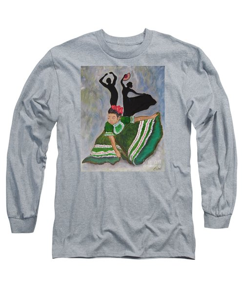 Long Sleeve T-Shirt featuring the painting Mexican Hat Dance by Ella Kaye Dickey