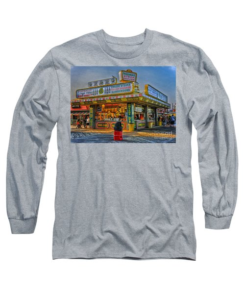 Long Sleeve T-Shirt featuring the photograph Midway Steak House by Debra Fedchin