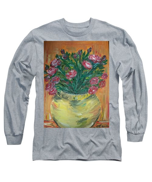 Long Sleeve T-Shirt featuring the painting Mini Roses by Teresa White