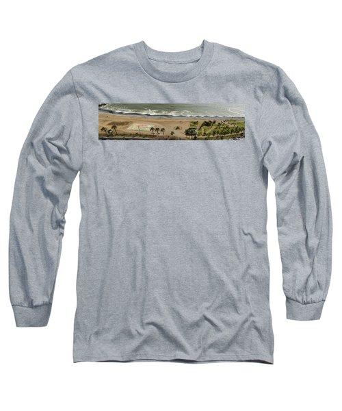 Miraflores Beach Panorama Long Sleeve T-Shirt by Allen Sheffield