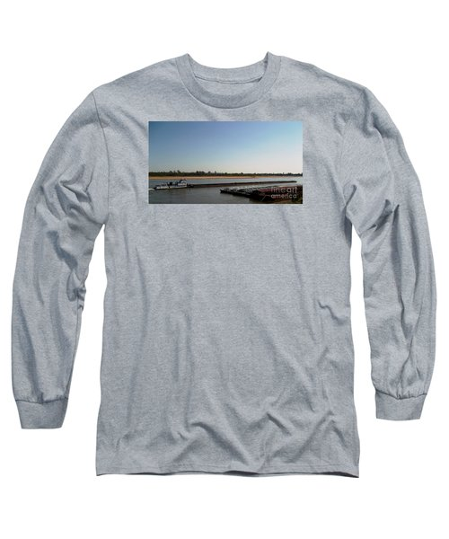 Mississippi River Barge Long Sleeve T-Shirt by Kelly Awad