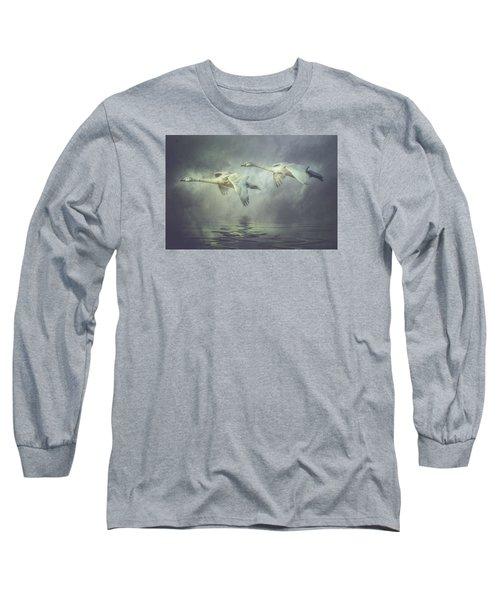 Misty Moon Shadows Long Sleeve T-Shirt by Brian Tarr