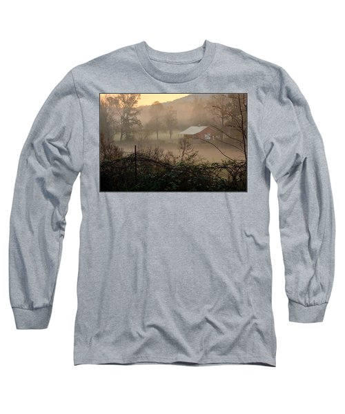 Misty Morn And Horse Long Sleeve T-Shirt by Kathy Barney