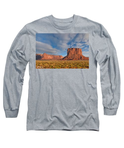 Mitchell Butte And Gray Whiskers In The Evening Light Long Sleeve T-Shirt by Jeff Goulden