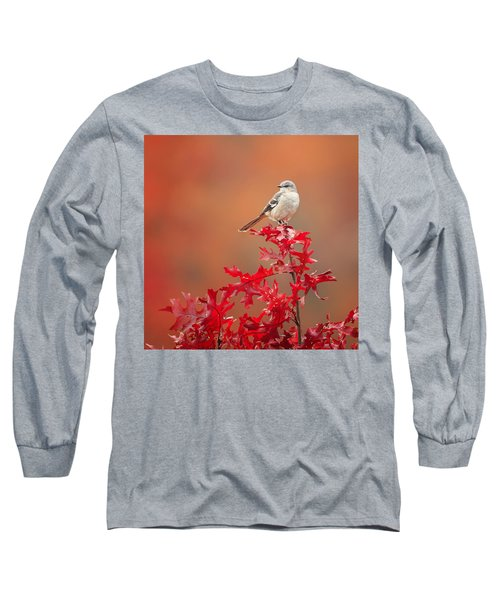 Mockingbird Autumn Square Long Sleeve T-Shirt by Bill Wakeley