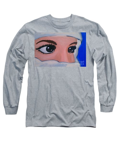 Long Sleeve T-Shirt featuring the painting Modesty by Marisela Mungia