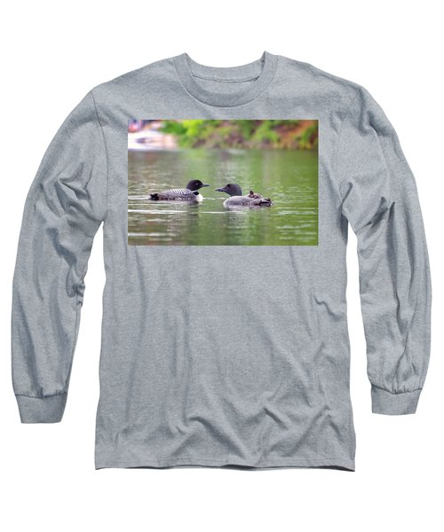 Mom And Dad Loon With Baby On Back Long Sleeve T-Shirt