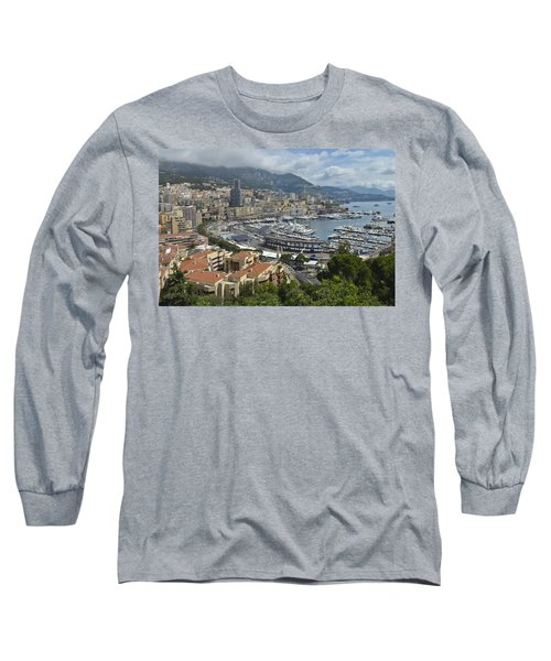 Long Sleeve T-Shirt featuring the photograph Monaco Harbor by Allen Sheffield