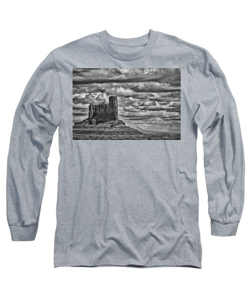 Long Sleeve T-Shirt featuring the photograph Monument Valley 6 Bw by Ron White