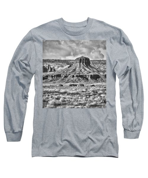 Long Sleeve T-Shirt featuring the photograph Monument Valley 7 Bw by Ron White