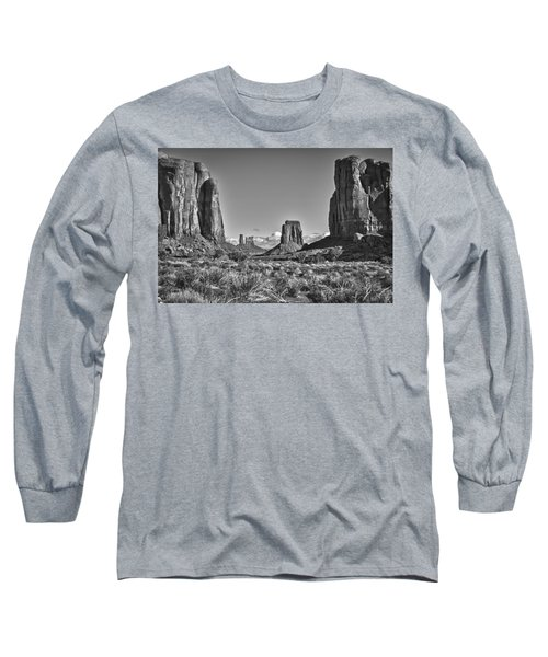 Long Sleeve T-Shirt featuring the photograph Monument Valley 8 Bw by Ron White