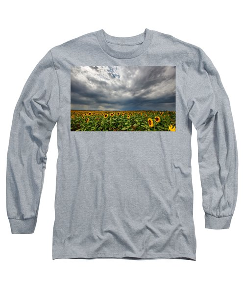 Long Sleeve T-Shirt featuring the photograph Moody Skies Over The Sunflower Fields by Ronda Kimbrow