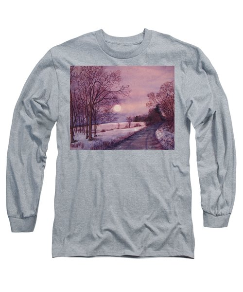 Long Sleeve T-Shirt featuring the painting Moon Rising by Joy Nichols