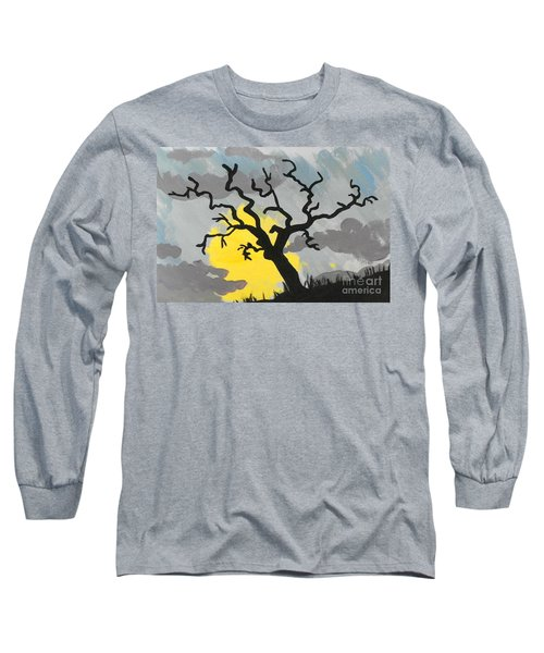 Long Sleeve T-Shirt featuring the painting Moon Tree by Marisela Mungia