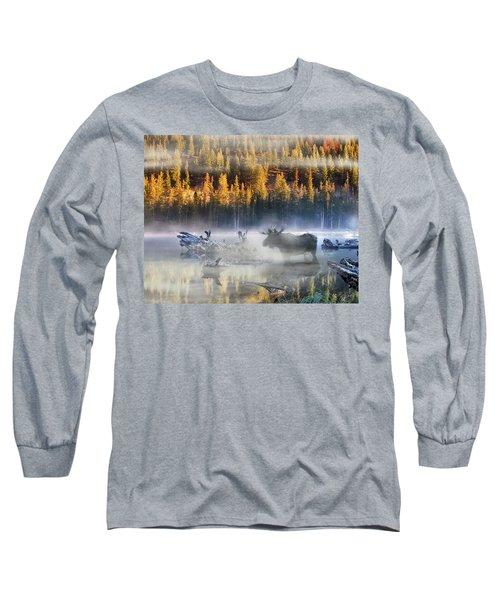 Moose Lake Long Sleeve T-Shirt by Leland D Howard