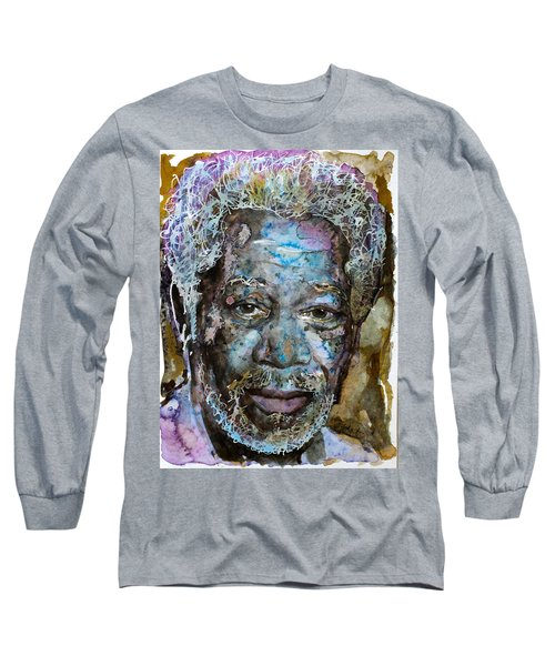 Long Sleeve T-Shirt featuring the painting Morgan In Blue by Laur Iduc