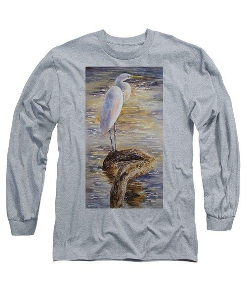 Morning Perch-egret Long Sleeve T-Shirt