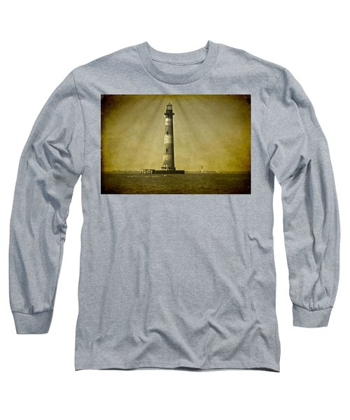 Morris Island Light Vintage Bw Uncropped Long Sleeve T-Shirt
