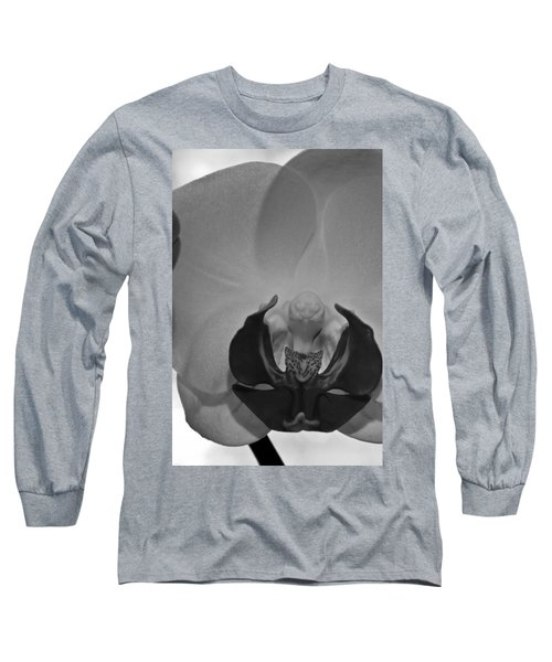 Long Sleeve T-Shirt featuring the photograph Moth Orchid Bw by Ron White